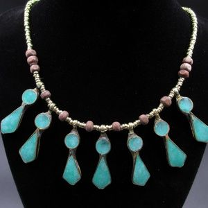 Jewelry - Vintage 19 Inch Rustic Blue Pedants Necklace